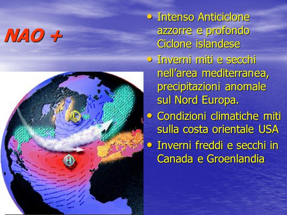NAO + Intenso Anticiclone azzorre e profondo Ciclone islandese Inverni miti e secchi nellarea mediterranea, precipitazioni anomale sul Nord Europa. Co