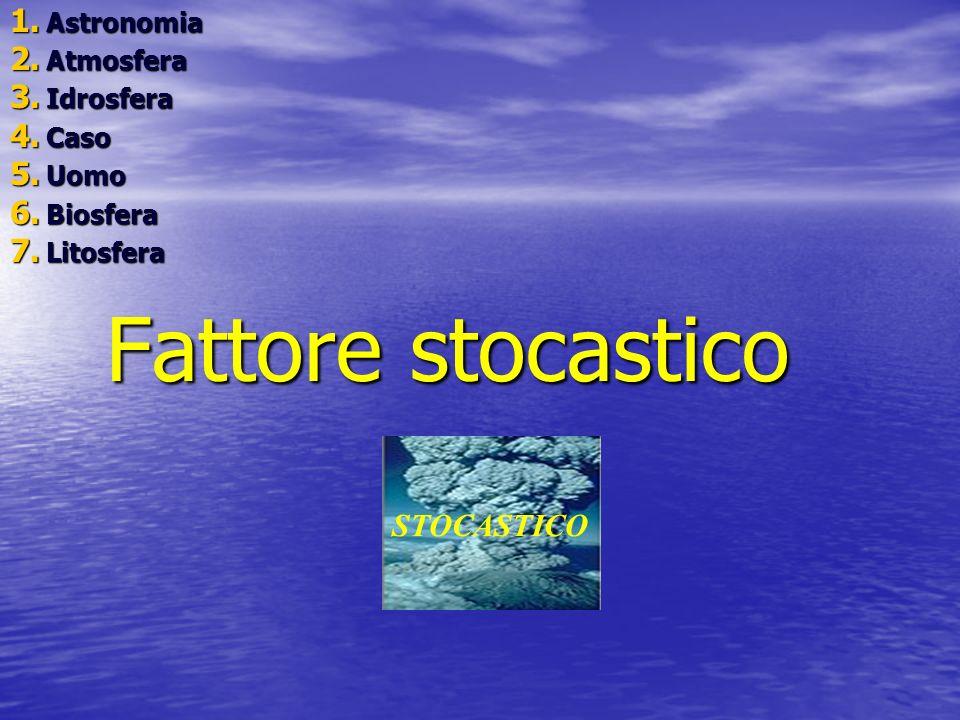Fattore stocastico 1. A stronomia 2. A tmosfera 3. I drosfera 4. C aso 5. U omo 6. B iosfera 7. L itosfera STOCASTICO
