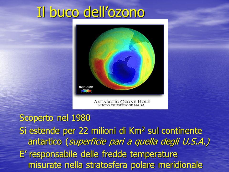 Il buco dellozono Scoperto nel 1980 Si estende per 22 milioni di Km 2 sul continente antartico (superficie pari a quella degli U.S.A.) E responsabile