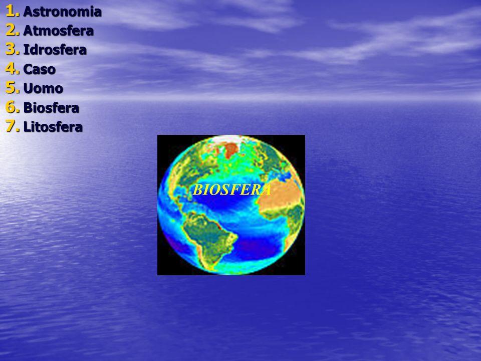 1. Astronomia 2. Atmosfera 3. Idrosfera 4. Caso 5. Uomo 6. Biosfera 7. Litosfera BIOSFERA