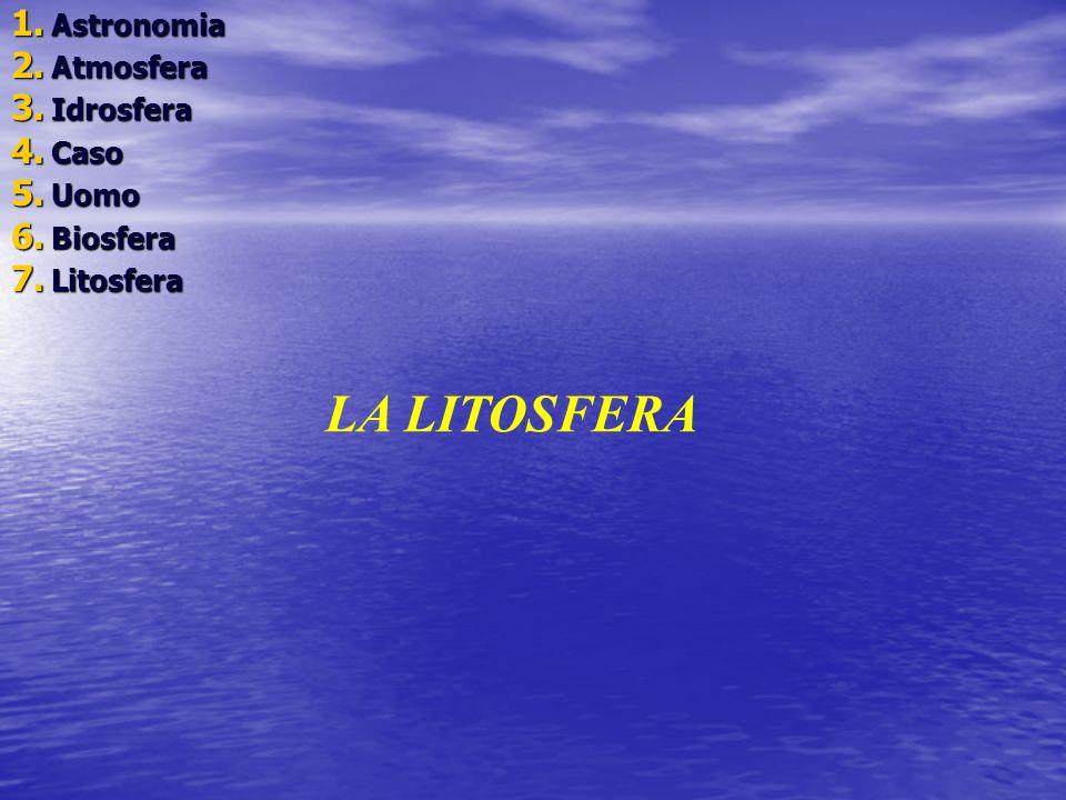 1. A stronomia 2. A tmosfera 3. I drosfera 4. C aso 5. U omo 6. B iosfera 7. L itosfera LA LITOSFERA