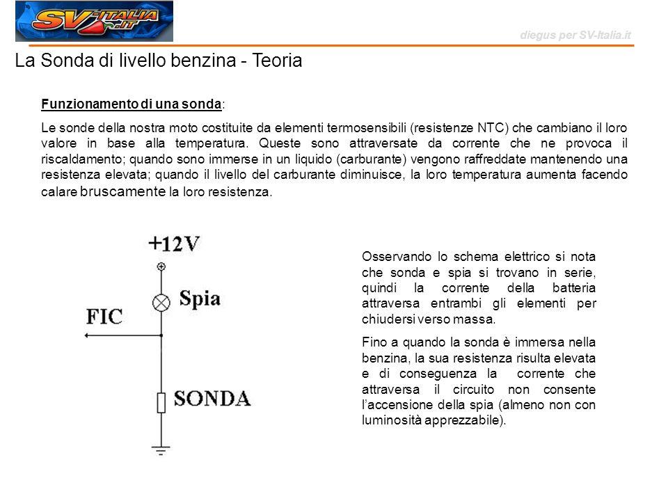 La Sonda di livello benzina - Teoria diegus per SV-Italia.it Funzionamento di una sonda: Le sonde della nostra moto costituite da elementi termosensib