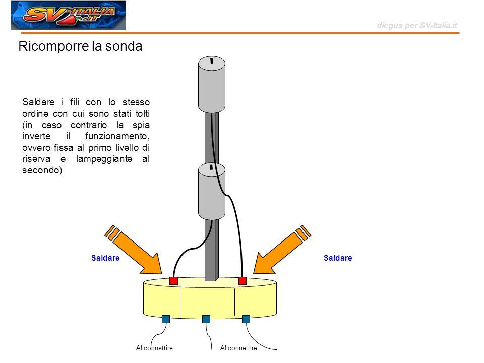 Al connettire Saldare i fili con lo stesso ordine con cui sono stati tolti (in caso contrario la spia inverte il funzionamento, ovvero fissa al primo