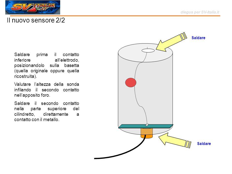 Saldare Il nuovo sensore 2/2 Saldare Saldare prima il contatto inferiore allelettrodo, posizionandolo sulla basetta (quella originale oppure quella ri