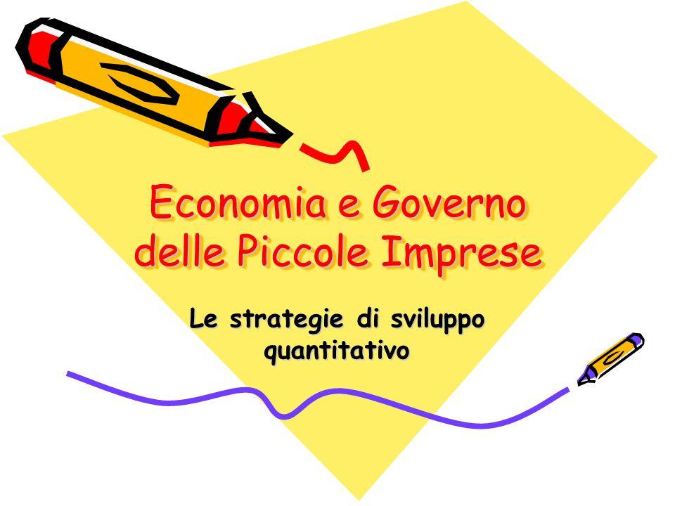 Economia e Governo delle Piccole Imprese Le strategie di sviluppo quantitativo