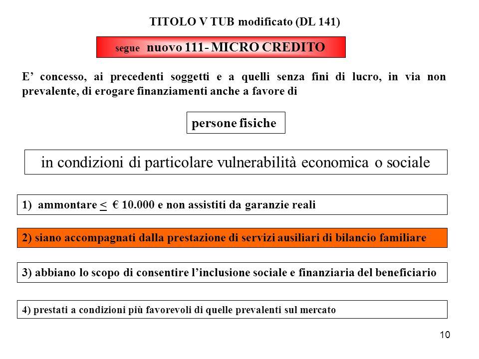10 segue nuovo 111- MICRO CREDITO TITOLO V TUB modificato (DL 141) E concesso, ai precedenti soggetti e a quelli senza fini di lucro, in via non preva