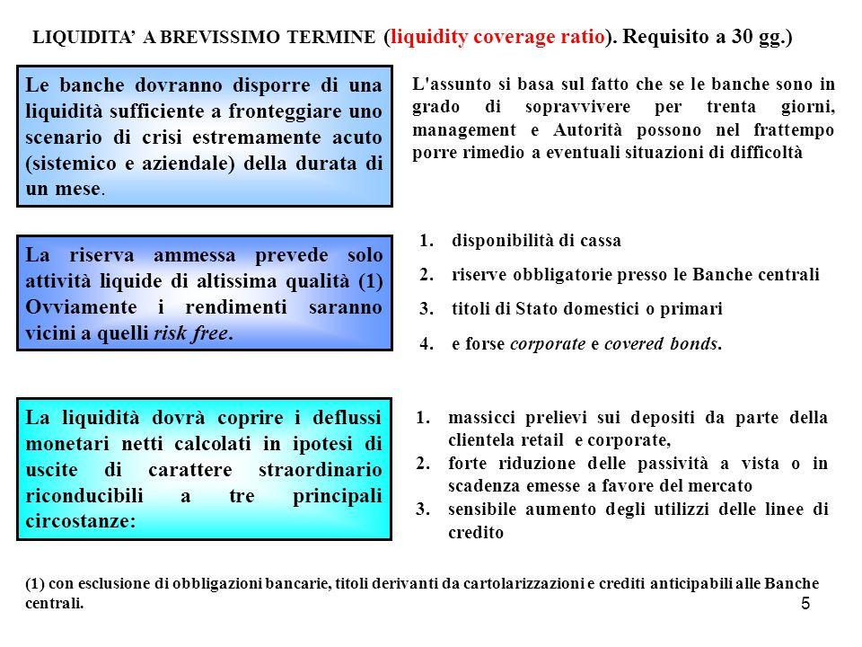 5 LIQUIDITA A BREVISSIMO TERMINE (liquidity coverage ratio). Requisito a 30 gg.) Le banche dovranno disporre di una liquidità sufficiente a fronteggia