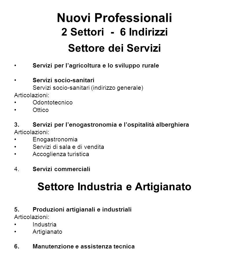 Nuovi Professionali 2 Settori - 6 Indirizzi Settore dei Servizi Servizi per lagricoltura e lo sviluppo rurale Servizi socio-sanitari Servizi socio-san