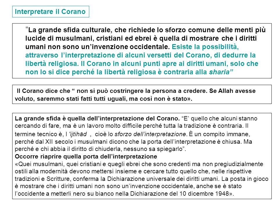 La grande sfida culturale, che richiede lo sforzo comune delle menti più lucide di musulmani, cristiani ed ebrei è quella di mostrare che i diritti um