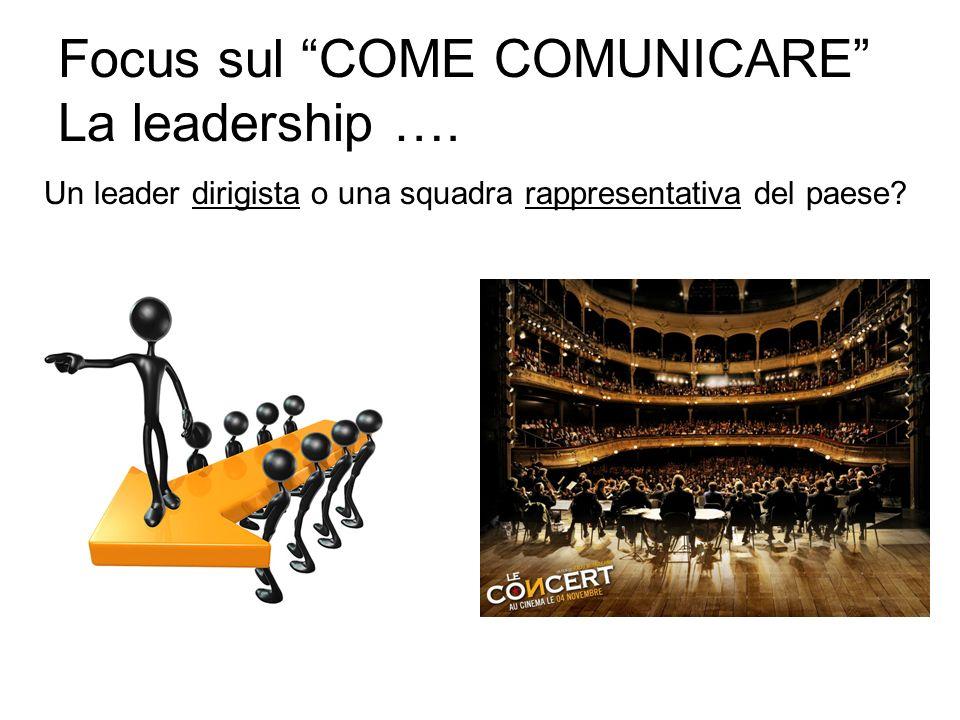 Focus sul COME COMUNICARE La leadership …. Un leader dirigista o una squadra rappresentativa del paese?
