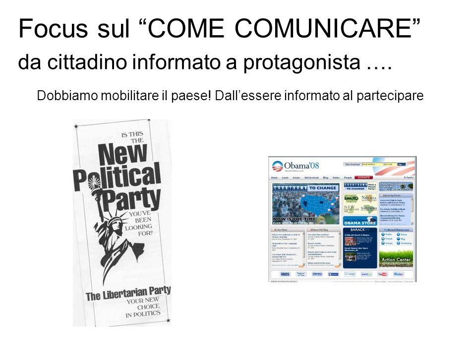 Focus sul COME COMUNICARE da cittadino informato a protagonista …. Dobbiamo mobilitare il paese! Dallessere informato al partecipare