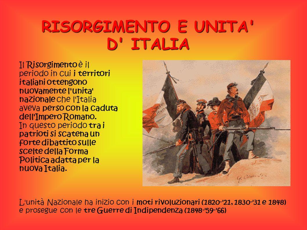 RISORGIMENTO E UNITA D ITALIA Il Risorgimento è il periodo in cui i territori italiani ottengono nuovamente l unita nazionale che l Italia aveva perso con la caduta dell Impero Romano.