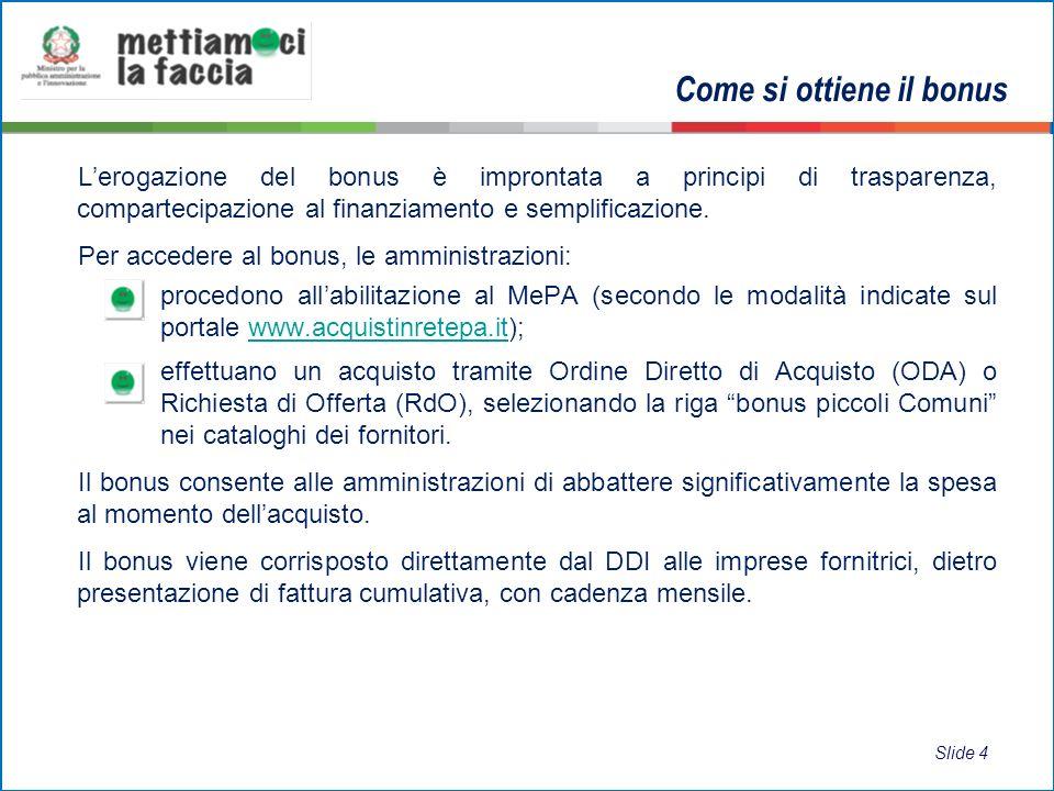 Lerogazione del bonus è improntata a principi di trasparenza, compartecipazione al finanziamento e semplificazione.