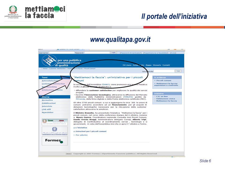 Il portale delliniziativa www.qualitapa.gov.it Slide 6