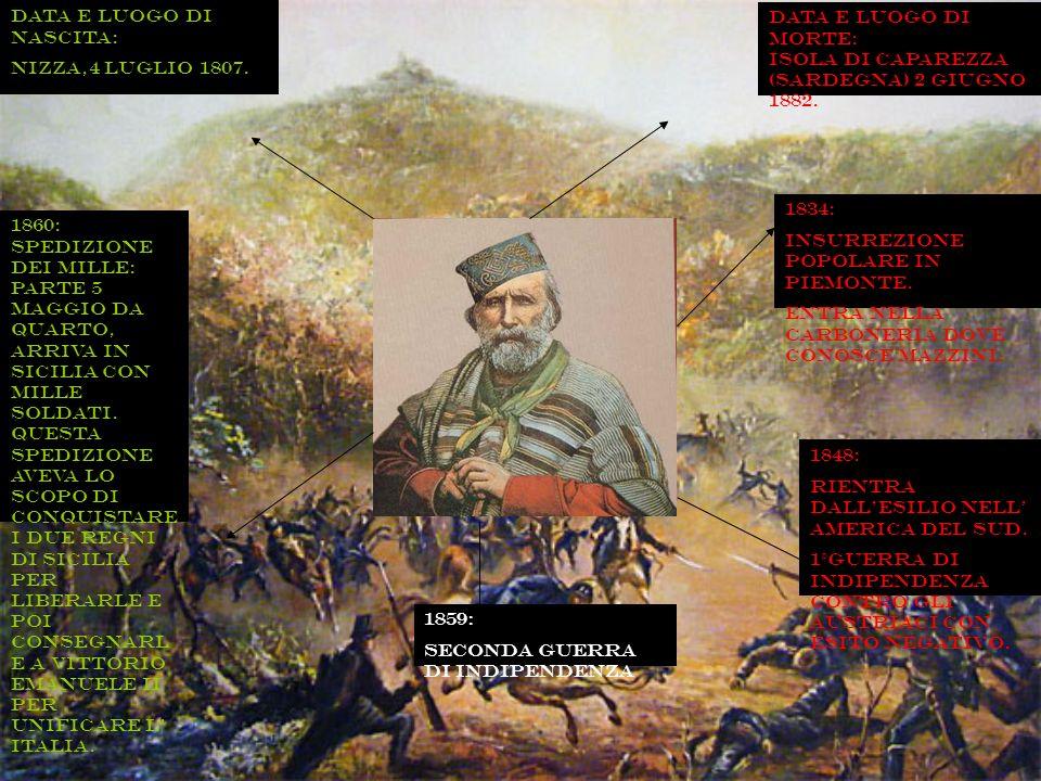 Data e luogo di nascita: Nizza,4 luglio 1807. 1834: Insurrezione popolare in Piemonte. Entra nella carboneria dove conosce Mazzini. 1848: Rientra dall