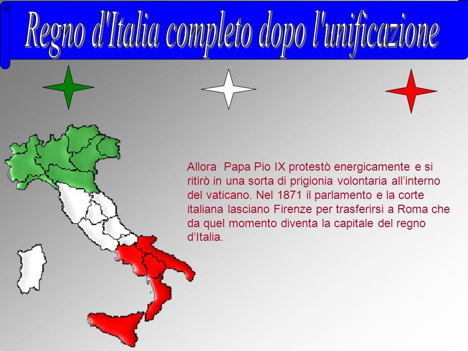 Allora Papa Pio IX protestò energicamente e si ritirò in una sorta di prigionia volontaria all interno del vaticano. Nel 1871 il parlamento e la corte