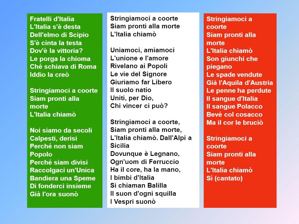 Fratelli d'Italia L'Italia s'è desta Dell'elmo di Scipio S'è cinta la testa Dov'è la vittoria? Le porga la chioma Ché schiava di Roma Iddio la creò St