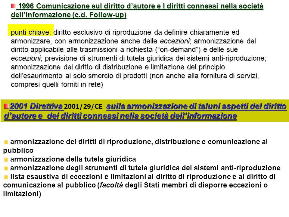 2001 Direttiva sulla armonizzazione di taluni aspetti del diritto dautore e dei diritti connessi nella società dellinformazione 2001 Direttiva 2001/29