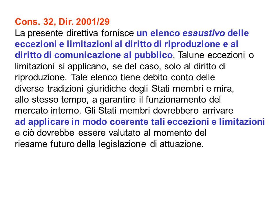 Cons. 32, Dir. 2001/29 La presente direttiva fornisce un elenco esaustivo delle eccezioni e limitazioni al diritto di riproduzione e al diritto di com