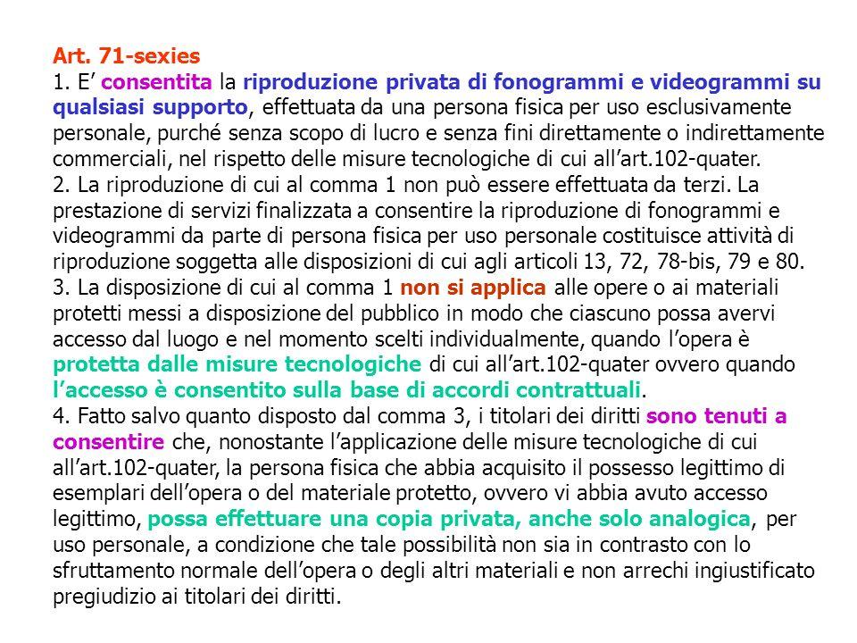 Art. 71-sexies 1. E consentita la riproduzione privata di fonogrammi e videogrammi su qualsiasi supporto, effettuata da una persona fisica per uso esc
