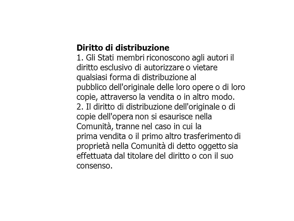 Diritto di distribuzione 1. Gli Stati membri riconoscono agli autori il diritto esclusivo di autorizzare o vietare qualsiasi forma di distribuzione al