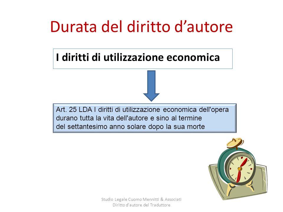 Durata del diritto dautore I diritti di utilizzazione economica Studio Legale Cuomo Mennitti & Associati Diritto d autore del Traduttore Art.
