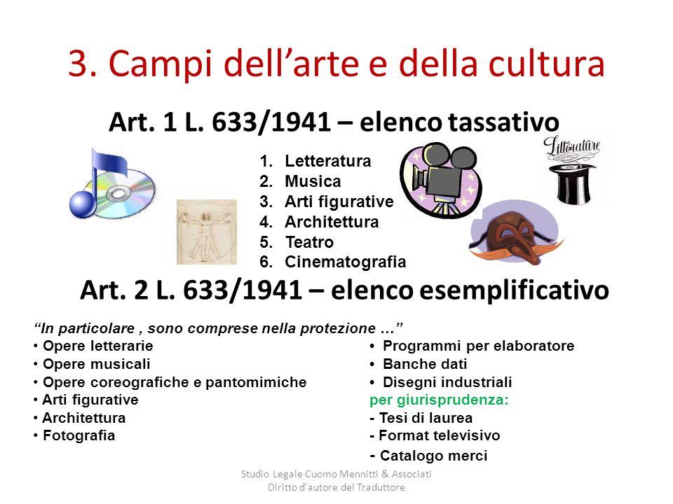 3. Campi dellarte e della cultura Art. 1 L. 633/1941 – elenco tassativo Studio Legale Cuomo Mennitti & Associati Diritto d'autore del Traduttore 1.Let