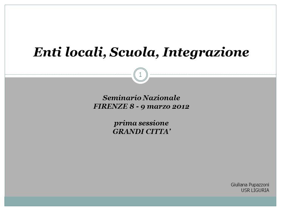 Giuliana Pupazzoni USR LIGURIA 1 Enti locali, Scuola, Integrazione Enti locali, Scuola, Integrazione Seminario Nazionale FIRENZE 8 - 9 marzo 2012 prim