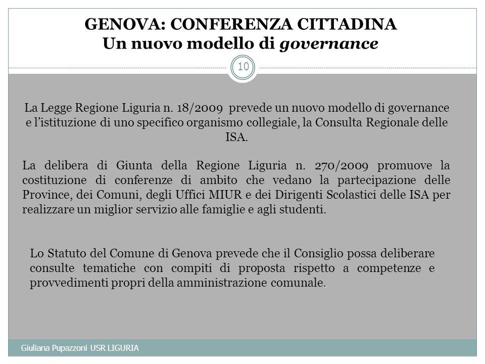 La delibera di Giunta della Regione Liguria n. 270/2009 promuove la costituzione di conferenze di ambito che vedano la partecipazione delle Province,