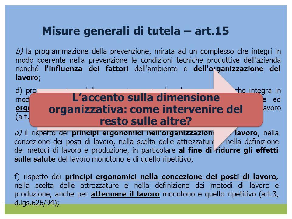 Misure generali di tutela – art.15 b) la programmazione della prevenzione, mirata ad un complesso che integri in modo coerente nella prevenzione le co