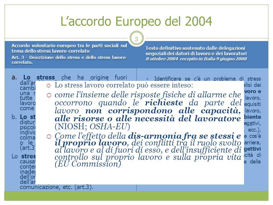 Laccordo Europeo del 2004 Accordo volontario europeo tra le parti sociali sul tema dello stress lavoro-correlato Art. 3 - Descrizione dello stress e d