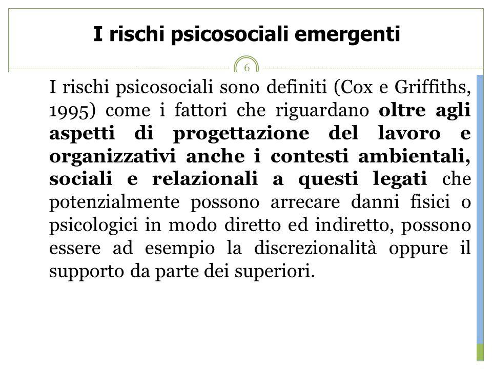 I rischi psicosociali emergenti Nellambito delle ricerche avviate nel 2002 dalla European Agency for Safety and Health at Work sono stati individuati
