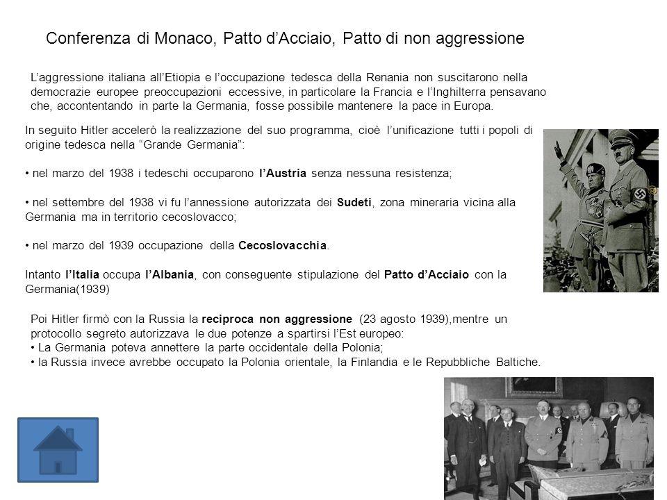 Laggressione italiana allEtiopia e loccupazione tedesca della Renania non suscitarono nella democrazie europee preoccupazioni eccessive, in particolar