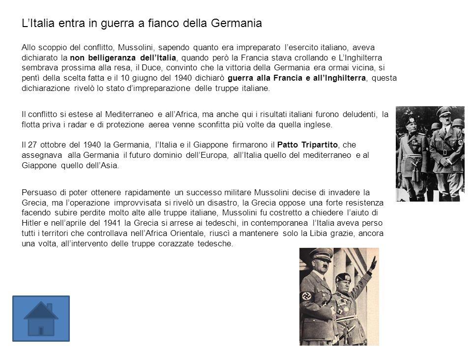 LItalia entra in guerra a fianco della Germania Allo scoppio del conflitto, Mussolini, sapendo quanto era impreparato lesercito italiano, aveva dichia