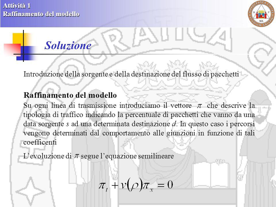 Definizioni base Una rete di telecomunicazione è individuata dalla seguente 6-upla (I, F, J, S, D, R) Archi I: insieme finito di intervalli chiamati linee di trasmissione Flussi F: insieme finito di flussi Giunzioni J: sottoinsieme finito dellinsieme Sorgenti S: sottoinsieme finito dellinsieme rappresentante le linee connesse a sorgenti di traffico Destinazioni D: sottoinsieme finito dellinsieme rappresentante le linee connesse alle destinazioni del traffico Funzione di distribuzione del traffico R: collezione finita di funzioni r J indicanti alle giunzioni J, la direzione del traffico che parte dalla sorgente s ed arriva alla destinazione finale d