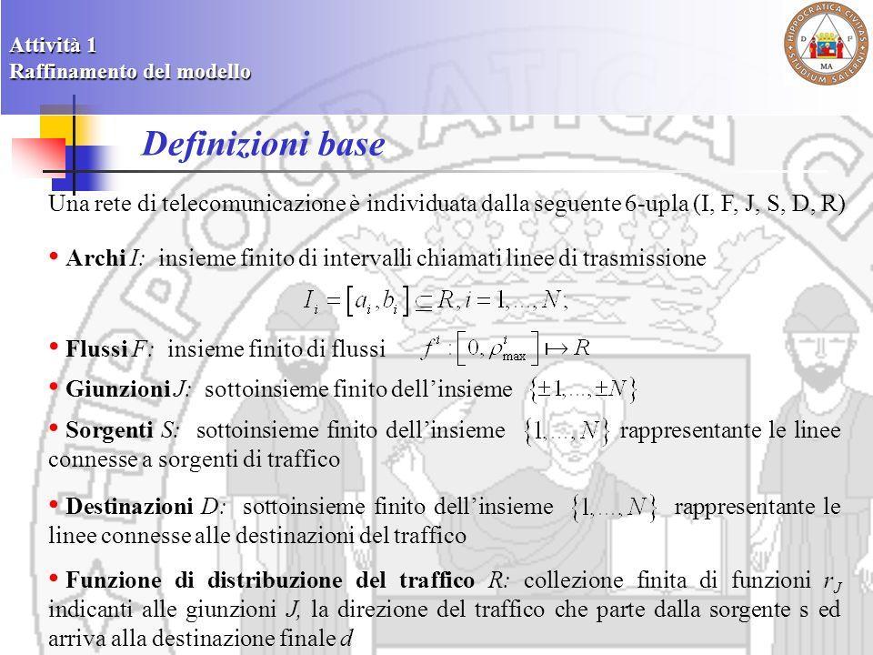 Funzione traffic - type Una funzione traffic - type su una linea I i è definita come: così che per ogni e In questo caso indica il valore della densità che partendo dalla sorgente s si muove verso la destinazione d Se rappresenta una traiettoria di pacchetti lungo I i allora possiamo assumere Considerando il differenziale totale rispetto al tempo otteniamo lequazione semilineare Attività 1 Raffinamento del modello