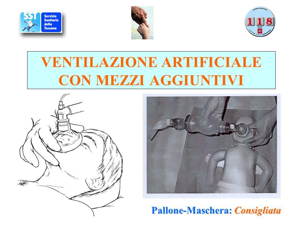 VENTILAZIONE ARTIFICIALE CON MEZZI AGGIUNTIVI Pallone-Maschera: Consigliata