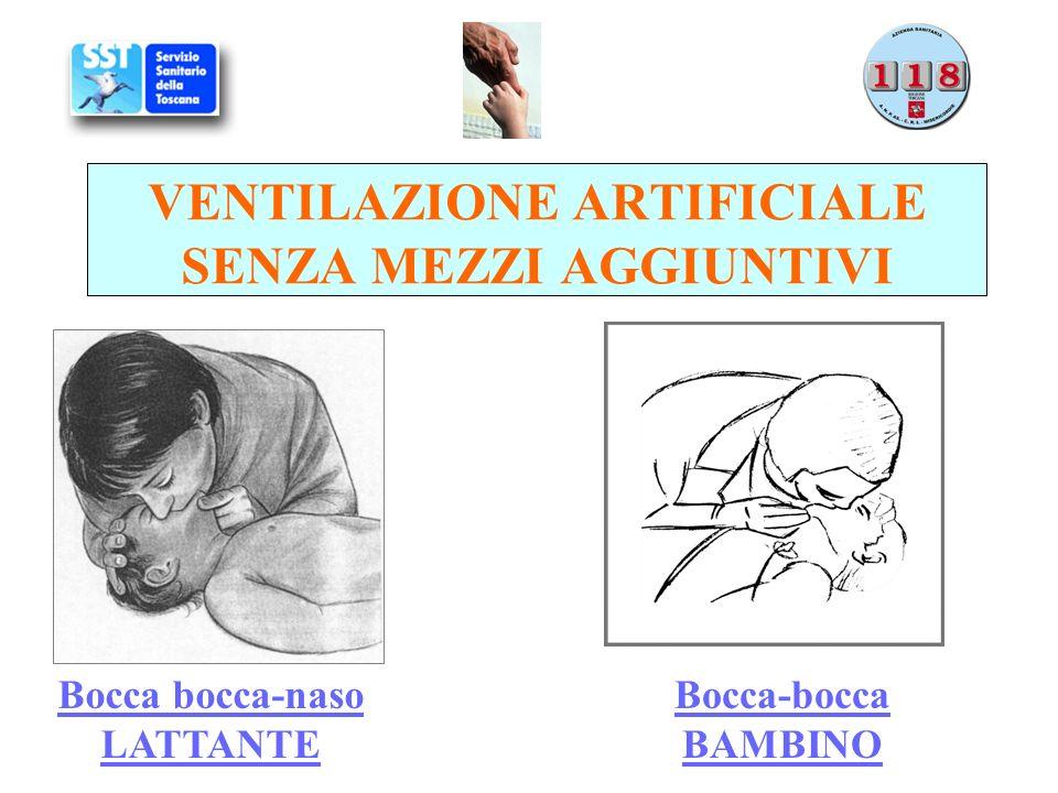 VENTILAZIONE ARTIFICIALE SENZA MEZZI AGGIUNTIVI Bocca bocca-naso LATTANTE Bocca-bocca BAMBINO