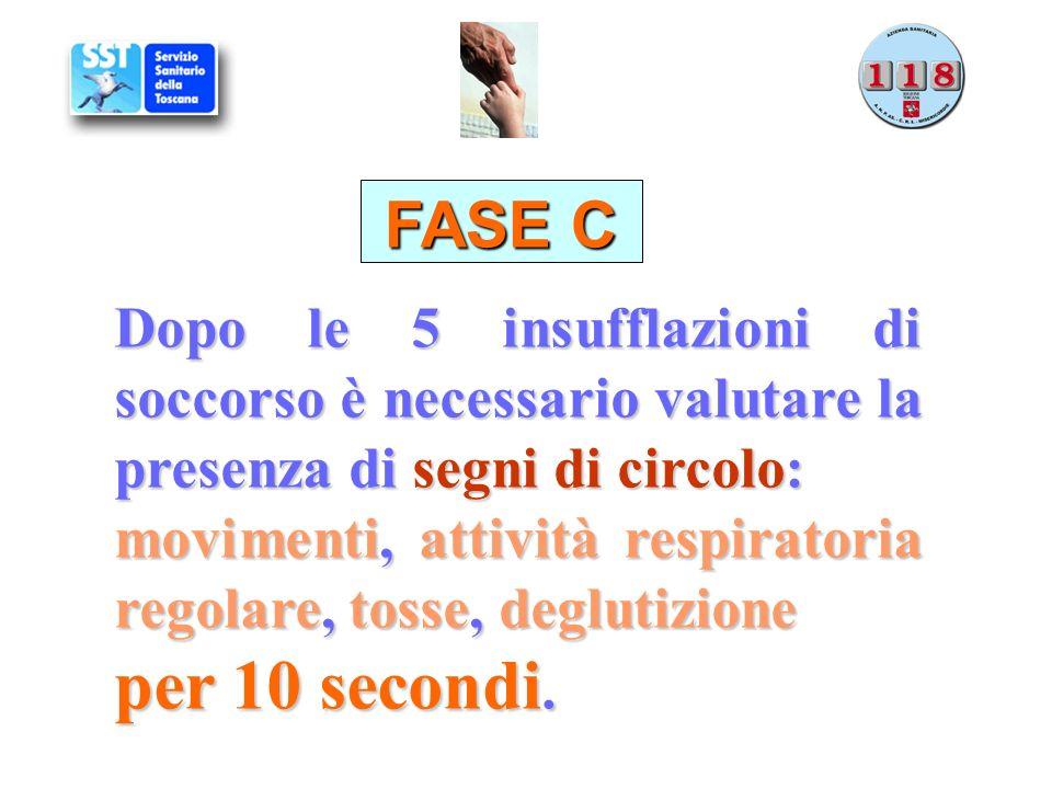 FASE C Dopo le 5 insufflazioni di soccorso è necessario valutare la presenza di segni di circolo: movimenti, attività respiratoria regolare, tosse, de