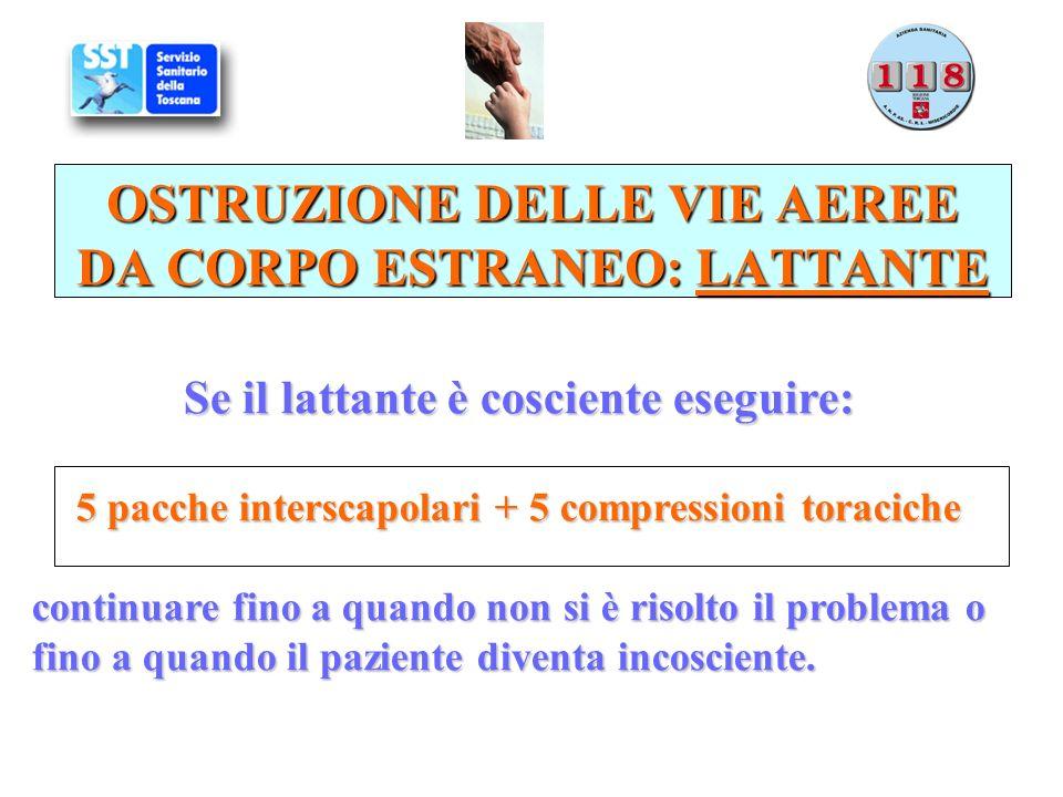 Se il lattante è cosciente eseguire: 5 pacche interscapolari + 5 compressioni toraciche continuare fino a quando non si è risolto il problema o fino a