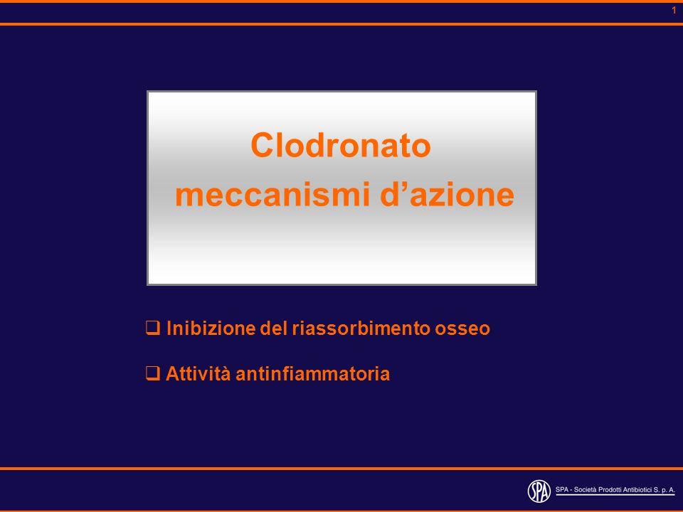 1 Inibizione del riassorbimento osseo Attività antinfiammatoria Clodronato meccanismi dazione