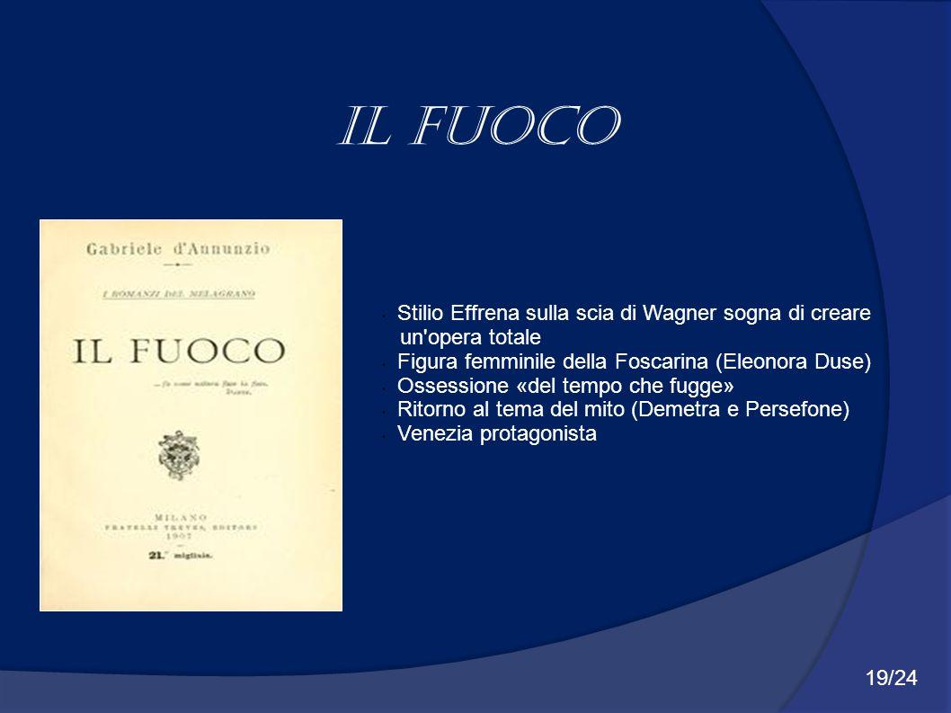 Il fuoco Stilio Effrena sulla scia di Wagner sogna di creare un'opera totale Figura femminile della Foscarina (Eleonora Duse) Ossessione «del tempo ch