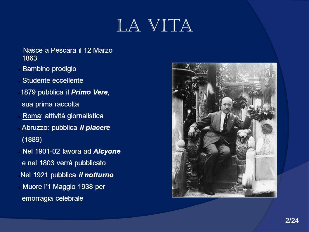 Nasce a Pescara il 12 Marzo 1863 Bambino prodigio Studente eccellente 1879 pubblica il Primo Vere, sua prima raccolta Roma: attività giornalistica Abr