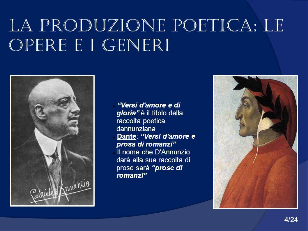 La produzione poetica: Le opere e i generi Versi d'amore e di gloria è il titolo della raccolta poetica dannunziana Dante: Versi d'amore e prosa di ro