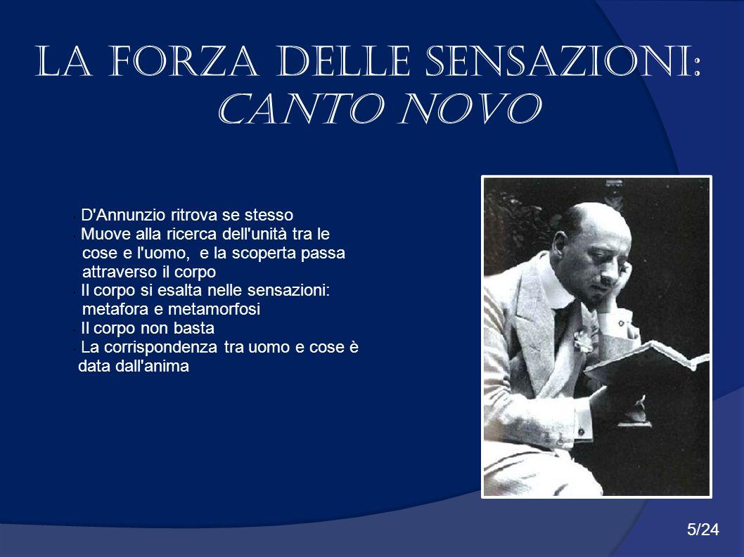 La forza delle sensazioni: Canto Novo D'Annunzio ritrova se stesso Muove alla ricerca dell'unità tra le cose e l'uomo, e la scoperta passa attraverso