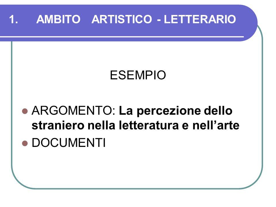 1.AMBITOARTISTICO - LETTERARIO ESEMPIO ARGOMENTO: La percezione dello straniero nella letteratura e nellarte DOCUMENTI