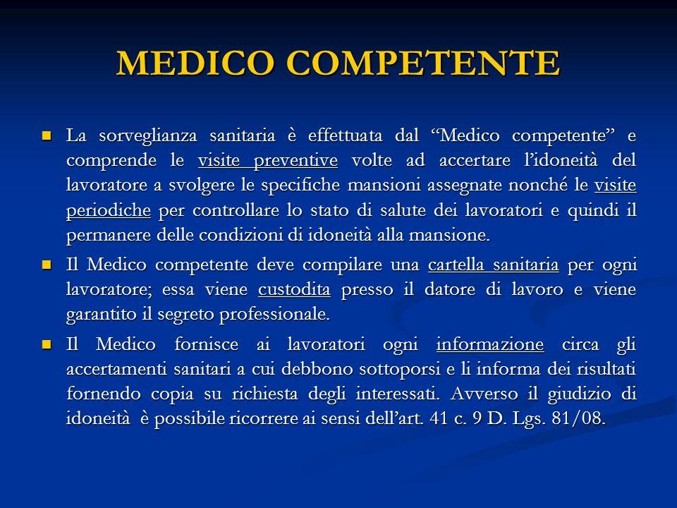 MEDICO COMPETENTE La sorveglianza sanitaria è effettuata dal Medico competente e comprende le visite preventive volte ad accertare lidoneità del lavor
