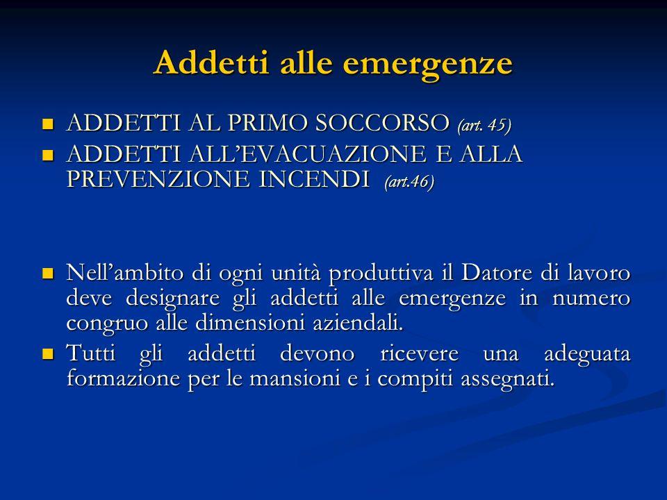 Addetti alle emergenze ADDETTI AL PRIMO SOCCORSO (art. 45) ADDETTI AL PRIMO SOCCORSO (art. 45) ADDETTI ALLEVACUAZIONE E ALLA PREVENZIONE INCENDI (art.