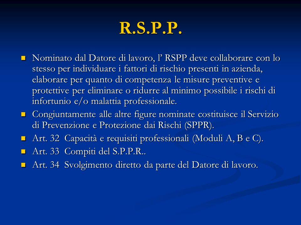 R.S.P.P. Nominato dal Datore di lavoro, l RSPP deve collaborare con lo stesso per individuare i fattori di rischio presenti in azienda, elaborare per