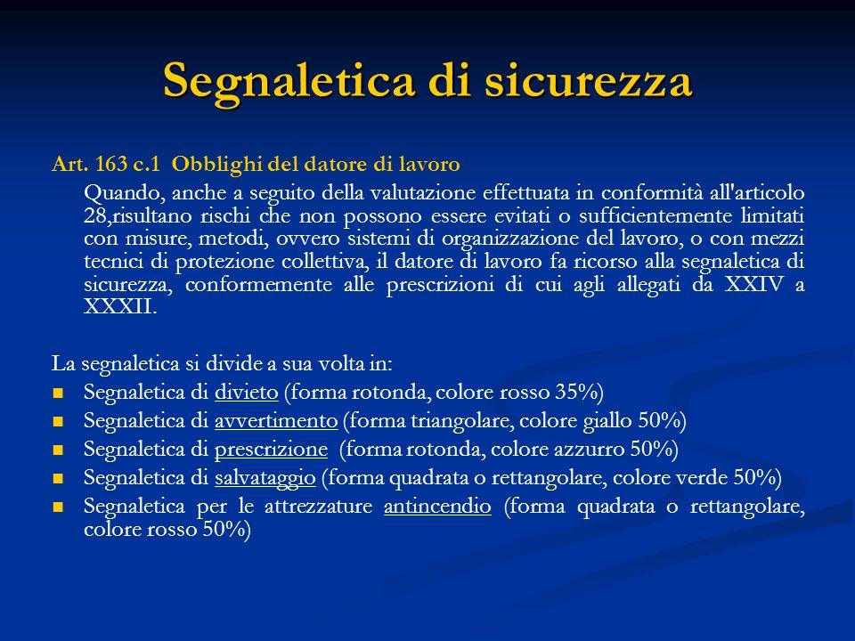 Segnaletica di sicurezza Art. 163 c.1 Obblighi del datore di lavoro Quando, anche a seguito della valutazione effettuata in conformità all'articolo 28